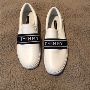 White Leather Tommy Hilfiger Slip ons